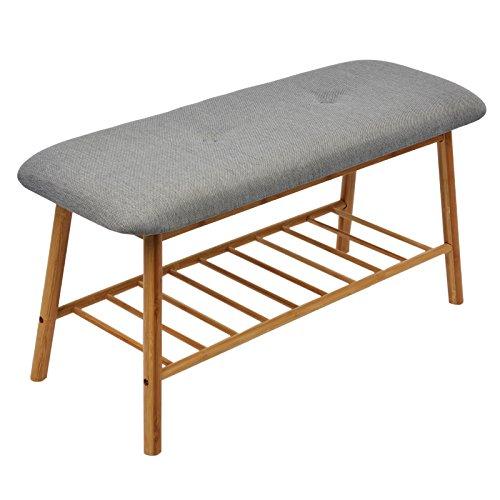 Limal Sitzbank, Bambus, Grau, 42 x 84 x 33 cm